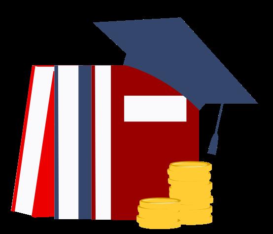 Illustration of books and a graduation cap