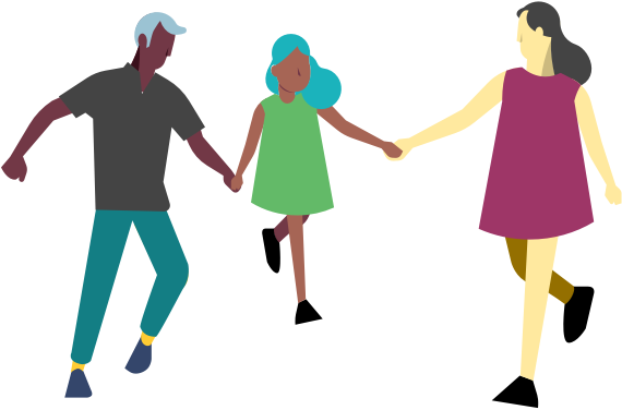 Illustration of a family walking together