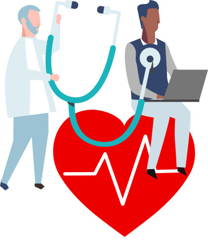 A man sitting on a giant heart, a doctor is holding a giant stethoscope next to him