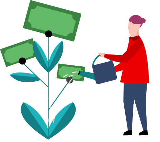 Illustration of a person watering a money plant