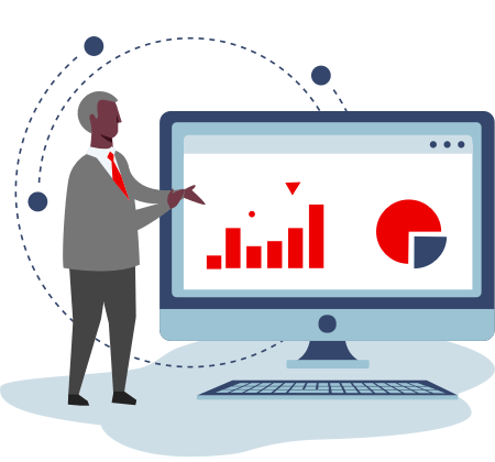 Illustration of a CEO next to a giant computer with charts