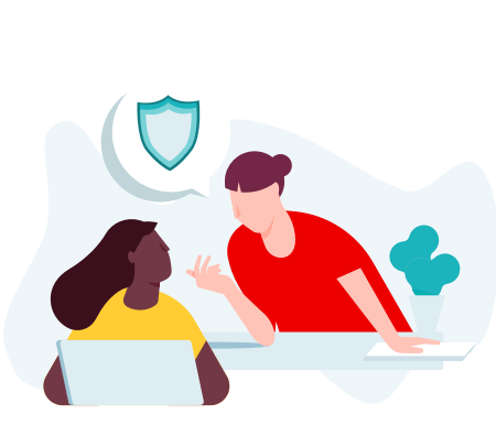 Illustration of two people talking about code of conduct