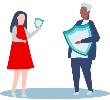 Illustration of two people talking hold shields that represent safety