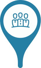 A location marker with a group of professionals in the center
