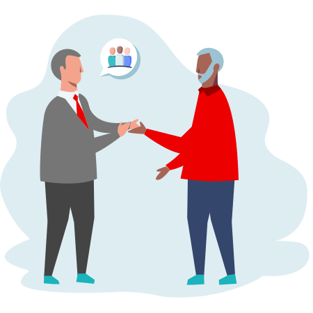 Illustration of two people shaking hands talkin abstractly about strategy