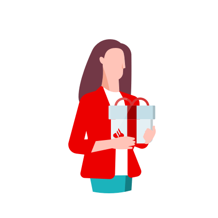 Illustration of a woman holding a gift