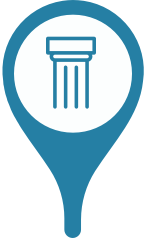 A location marker with a pillar in the center