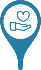 A location marker with hand holding a hovering heart in the center