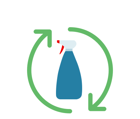 Illustration of a plastic cleaning bottle inside a recycling symbol