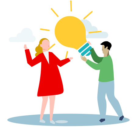 Illustration of a person handing a giant light bulb to antother who is excited to receive it