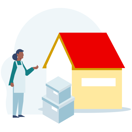Illustration of a house with a person in an apron next to some boxes